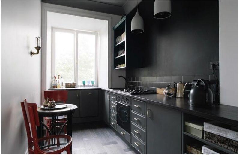 Темно-серая кухня в маленькую кухню