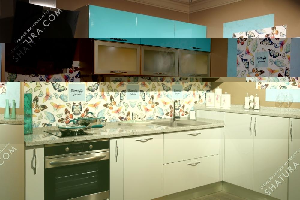 Кухня голубая с бабочками