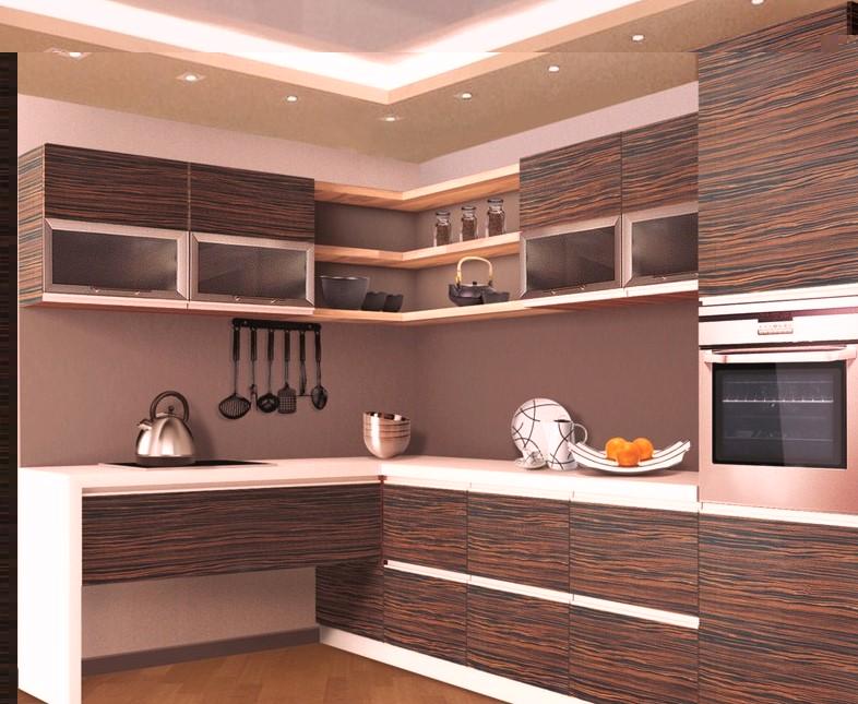 Кухня с покрытием шпон