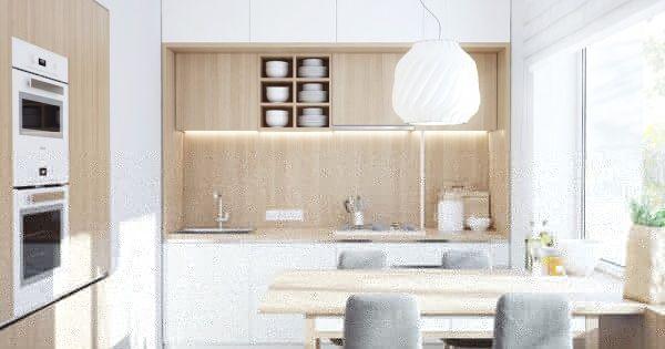 Кухня в солнечном помещении