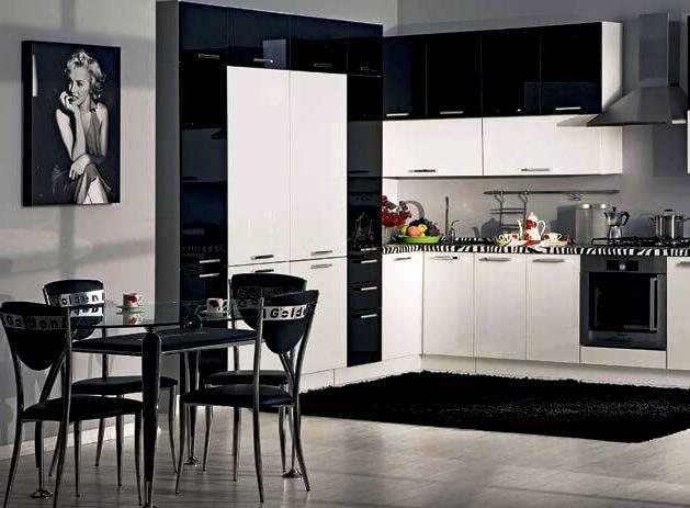 Кухня в стиле арт-деко чернобелая
