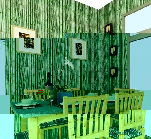 Кухня с обоями под бамбук
