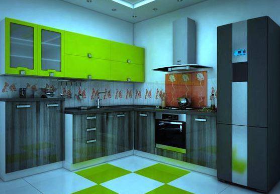 Зеленая кухня из ламинированного ДСП