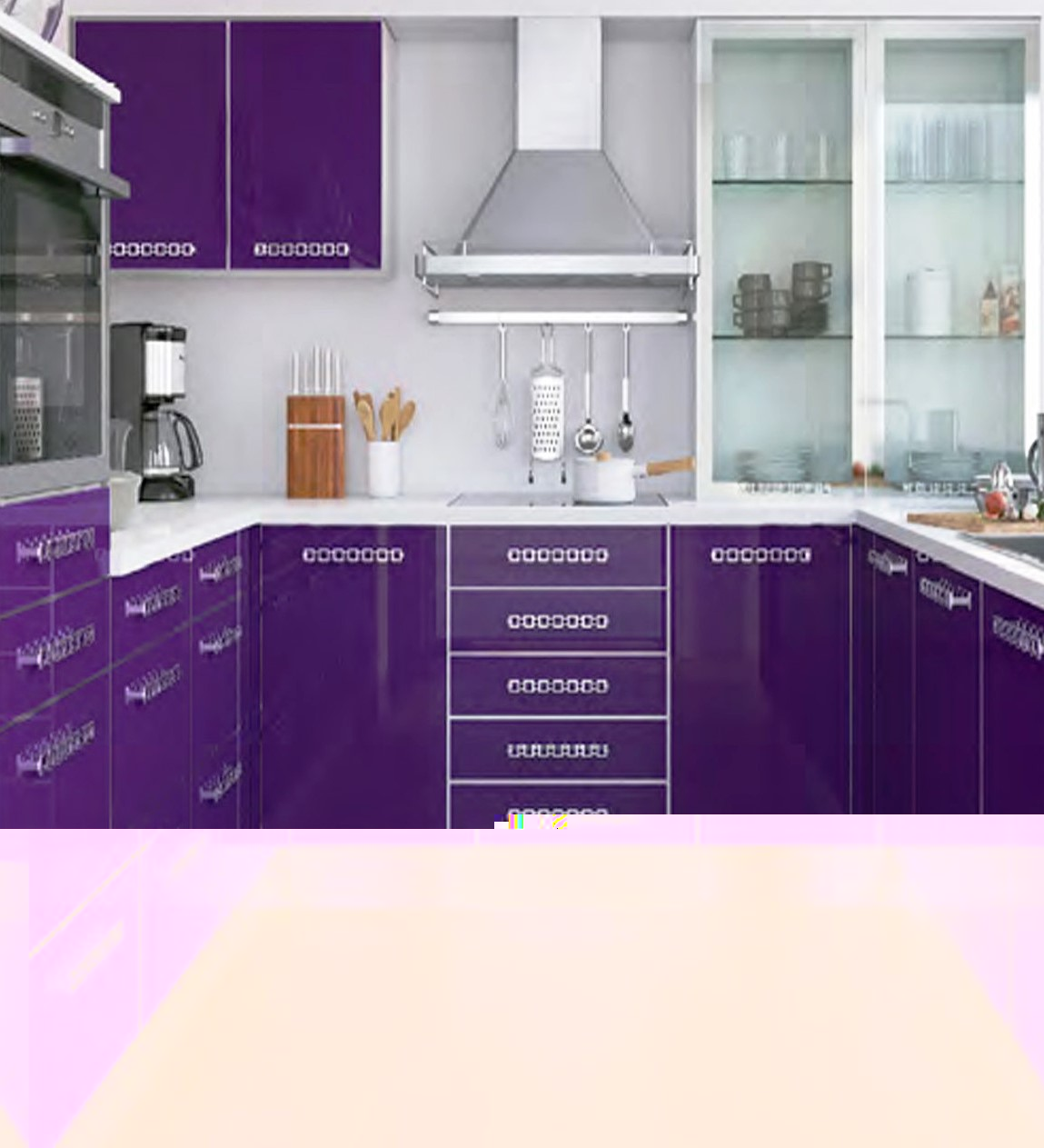 Ярко фиолетовая кухня