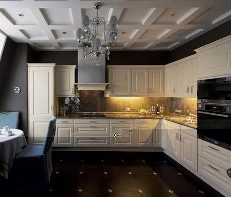 Светлая кухня с темным полом